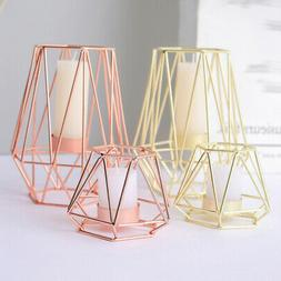 Romantic Geometric Iron Wire Hollow Art Plating Candle Holde
