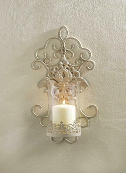 """ROMANTIC LACE WALL SCONCE - 14 3/4"""" HIGH - IRON & GLASS - WH"""