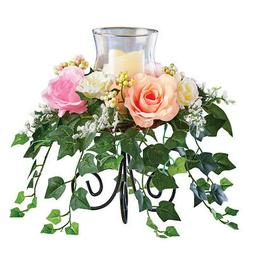 Roses With Cascading Ivy Candle Holder Centerpiece, by Colle