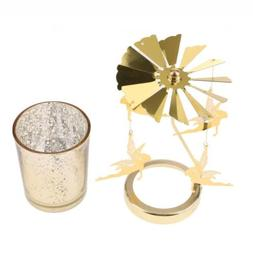Rotary Fairy Candle Holder Golden Xmas Decor Tool Ideal Gift