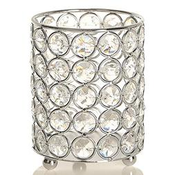 VINCIGANT Silver Cylinder Crystal Tealight Candle Holder Can