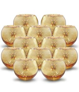 Volens Round Gold Votive Candle Holders, Mercury Glass Teali