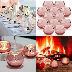 Round ROSE GOLD Votive Candle Holders Set Of 12 Mercury Glas