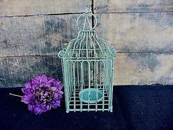 Rustic Aqua Green Square Bird Cage Lantern Candle Holder Wed