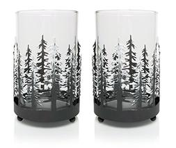 Rustic Candle Holders - Set of 2 Glass Metal Winter Trees Ca