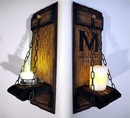 Rustic Candle Sconces - Set of 2 - Primitive Country Home De