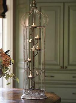 """36"""" Rustic Chic 5-Tea Light Candle Holder Bird Cage with Spo"""