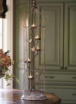 """Melrose 36"""" Rustic Chic 5-Tea Light Candle Holder Bird Cage"""