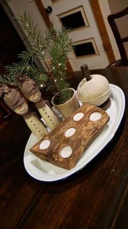 Rustic Locust wood candle holder, tea light candles