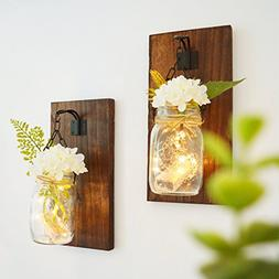 RISEON Rustic Mason Jar Wall Candle Sconces Set of 2, with L