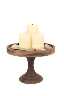 Stonebriar Rustic Worn Natural Wood and Metal Pedestal Tray,