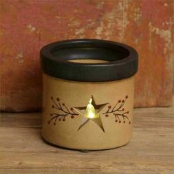 Rustic Primitive  Country Ceramic Star Berries & Vine Candle