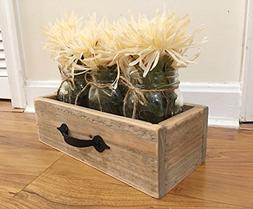 Rustic Reclaimed Wooden Drawer With Mason Jars, Reclaimed Bo