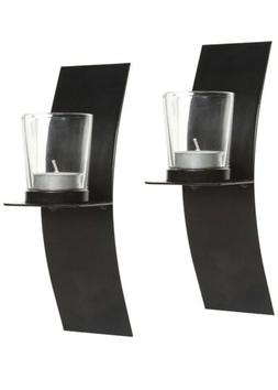 Hosley's Set of 2, Modern Art Large Wall Sconces with Clear