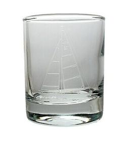 Sailboat Glass Votive Candle Holder 2.5 oz  Etched Clear Shi