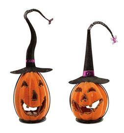 Set of 2 Scary Orange Crackle Finish Halloween Jack-O-Lanter