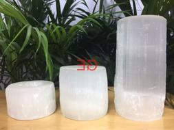 Selenite Candle holder Gift Set Cylinder Tea Light Candlehol