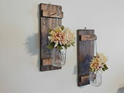 Set Hanging Mason Jar Sconce Wall Decor