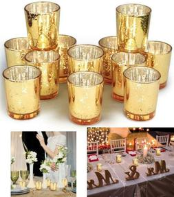 Set of 12 Gold Votive Candle Holders Bulk, Mercury Glass Tea