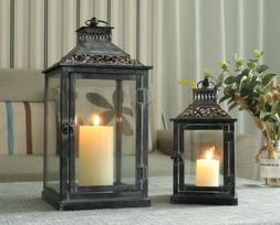 Set of 2 Decorative Candle Lanterns Vintage Metal hanging La