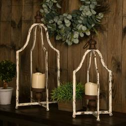 Glitzhome Set of 2 Farmhouse Iron Lantern Stand Candle Holde