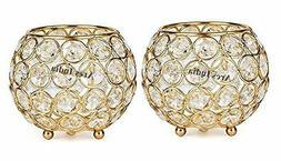 Set of 2 Gold Finish Crystal Votive Tealight Candle Holder F