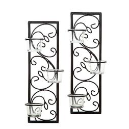 Set of 2 Handmade Black Iron Wall Sconce Candle Holder Home