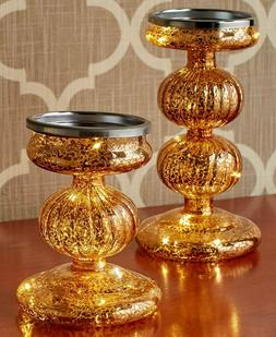 Set of 2 Mercury Glass Candle Holders Lighted Stands Gold or