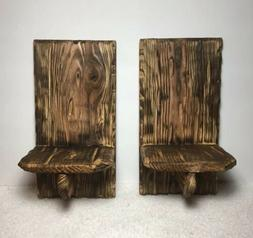 Set Of 2 Rustic Barn Wood Candle Holder Wall Sconce Farmhous