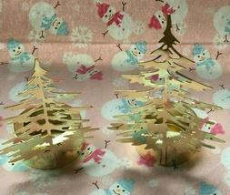 SET OF 2 YANKEE CANDLE SHINY GOLD WINTER TREES TEA LIGHT CAN