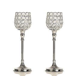 VINCIGANT Set of 2 Silver Crystal Pillar Candle Holder Moder