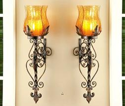 Set of 2 Vintage Bronze Iron Glass Hurricane Candle Holder W