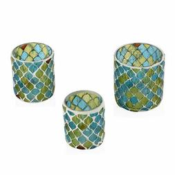 Set of 3 Blue and Green Mosaic Moroccan Pattern Tea Light Ca
