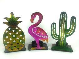 Set of 3 Custom Shape Metal Candle Holder Stands Flamingo Pi