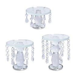 Set of 3 Transparent Crystal Home Decor Candle Holder Weddin
