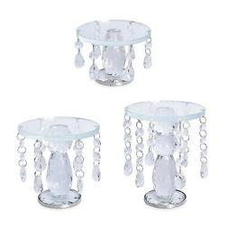 Set of 3 Transparent Crystal Home Christmas Decor Candle Hol