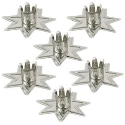 "Set of 6 Silver Fairy Star Chime Candle Holders for 4"" Mini"