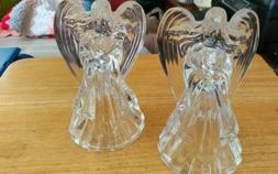 """SET OF GLASS ANGEL CANDLE HOLDER 7 1/4""""x 4 1/4""""  NEW"""