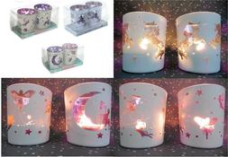 Set of Glass Fairy Moon Unicorn Tea Light Candle Holder Voti