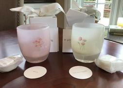 SET of Glassybaby Posie & Forget Me Not Etched Candle Holder