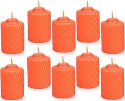 "Set of Ten  Orange Pumpkin Scented Wax Votive Candles - 2"" T"
