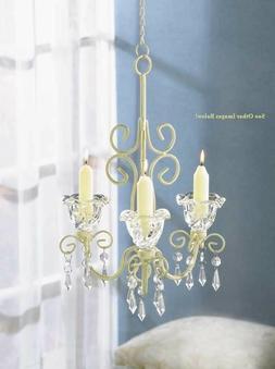 Shabby Chandelier Ivory Candle Holder Wedding Hanging Decor