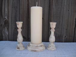 Shabby Chic Wood Wedding Unity Candle Holder Set - You Pick