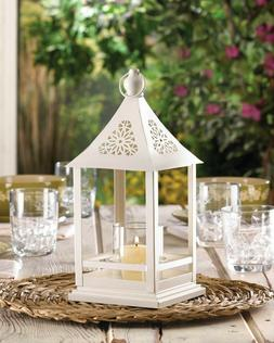 """Shabby White 12"""" Metal Candle Holder Flower gazebo wedding d"""