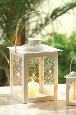 "shabby White 8"" Candle holder Lantern light lamp wedding tab"