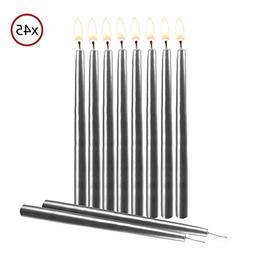"5.5/"" Tall Dripless Decorating Candle for Centerpiece Holders Silver Birthday Candles 45 Pack by Hyoola Candles Elegant Taper Design Cakes and Parties"