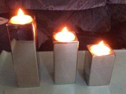 Silver color Pillar Candle Holder with LED Tea Lights Set of