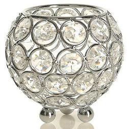 VINCIGANT Silver Crystal Bowl Candleholders Tealight Candle