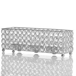 VINCIGANT Silver Crystal Candle Holder,Decorative Candlestic