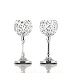 Easeurlife Silver Crystal Candle Holders Set of 2 Pack
